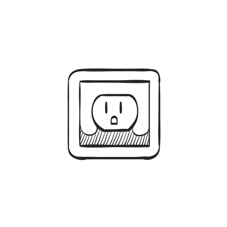Electrical outlet icon in doodle sketch lines. Electronic connect plug household