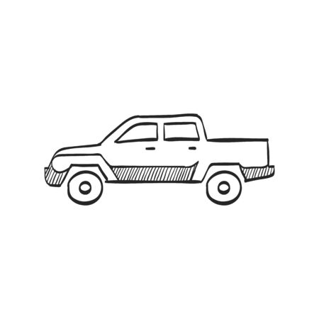 truck: Car icon in doodle sketch lines. Truck, double cabin, 4x4, 4 wheel driver American