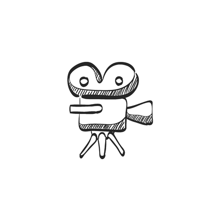 Movie camera icon in doodle sketch lines. Technology entertainment recording cinema film vintage