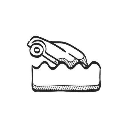 drowned: Drowned car icon in doodle sketch lines. Automotive natural accident flood insurance claim