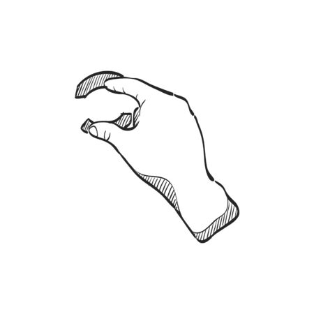 line drawings: Finger gesture icon in doodle sketch lines. Gadget touch pad display smartphone laptop computer Illustration
