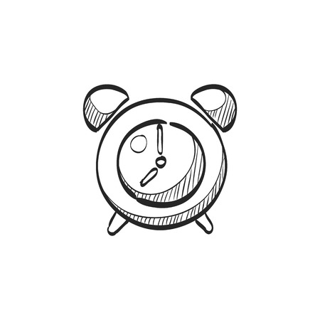 Clock icon in doodle sketch lines. Alarm waking wall time deadline Vectores