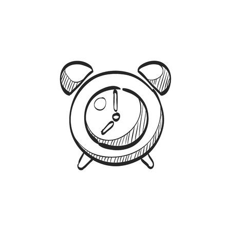Clock icon in doodle sketch lines. Alarm waking wall time deadline Stock Illustratie