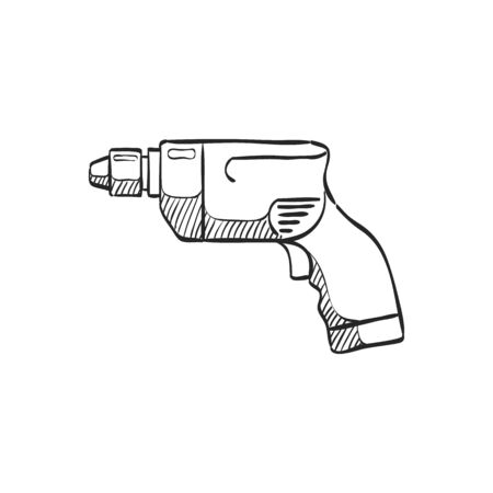 Electric drill icon in doodle sketch lines. Machine carpenter tool equipment wood working
