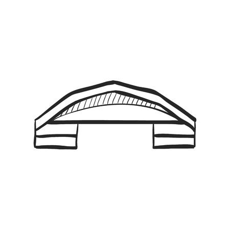 hangar: Airplane hangar icon in doodle sketch lines. Aviation repair maintenance building structure