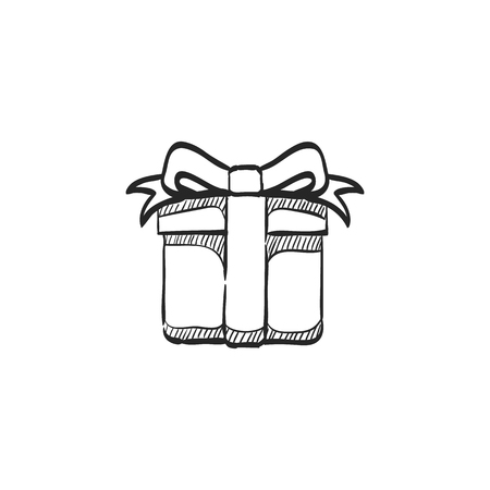 ribbon: Gift box icon in doodle sketch lines. Prize birthday Christmas holiday
