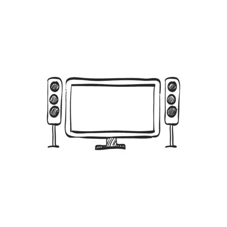 cinema screen: Home theater icon in doodle sketch lines. Entertainment movie family gathering watching