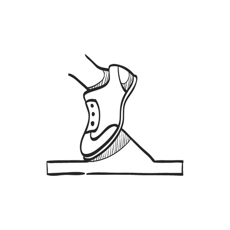competitions: Starting block icon in doodle sketch lines. Sport sprint running get set ready go Illustration