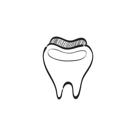 medical symbol: Tooth icon in doodle sketch lines. Toothpaste, hygiene, smile, healthy