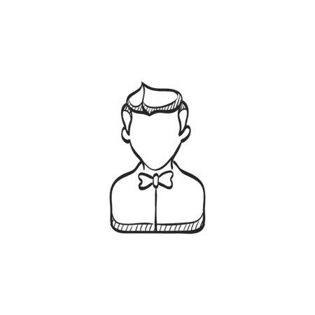 jobs: Waiter avatar icon in doodle sketch lines. Restaurant cafe food drink order pay service Illustration