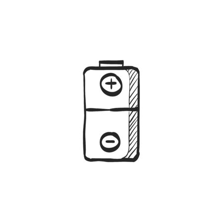 electronic: Battery icon in doodle sketch lines. Power source electricity symbol electronics Illustration