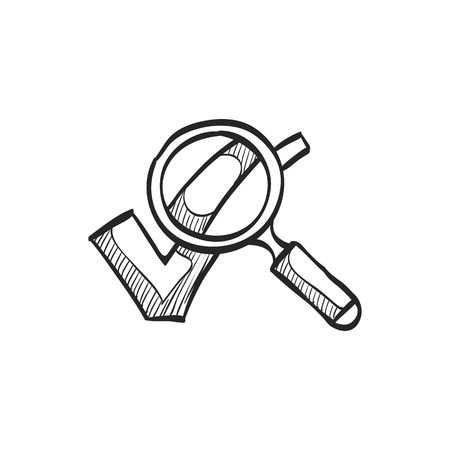 Magnifier check mark icon in doodle sketch lines. Zoom find locate approved decisions voting