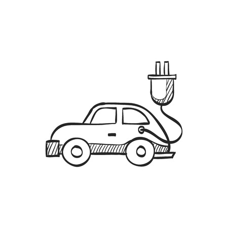 Electric car icon in doodle sketch lines. Vehicle, environment