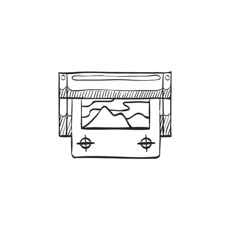 printing house: Printing proof icon in doodle sketch lines. Print shop service publisher desktop publishing Illustration