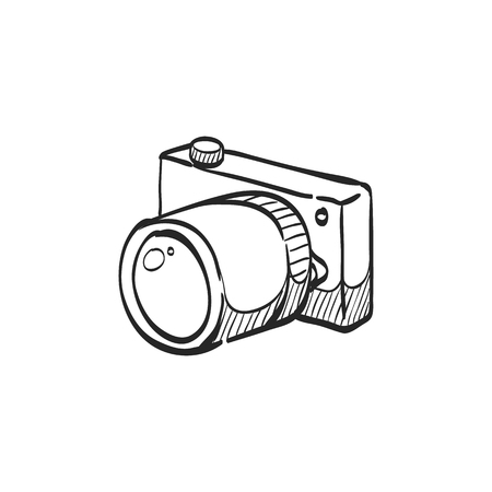 line drawings: Camera icon in doodle sketch lines. Photography picture electronic imaging capture mirror less digital