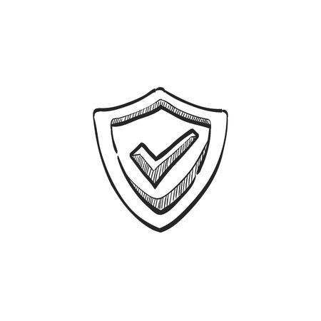 security symbol: Shield icon with checkmark in doodle sketch lines. Protection guard safety