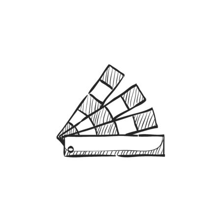 book: Color swatches icon in doodle sketch lines. Printing publishing book Illustration