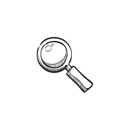 inspector: Magnifier icon in doodle sketch lines. Zoom explore find locate