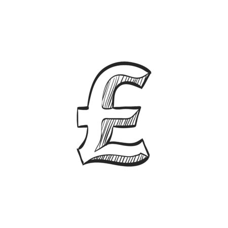 line drawings: Pound sterling symbol icon in doodle sketch lines. UK currency, British, Europe