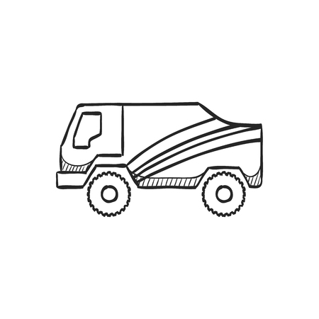 dakar: Rally truck icon in doodle sketch lines. Sport extreme race desert competition championship