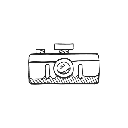 photo: Panorama camera icon in doodle sketch lines. Landscape nature architecture photography lens Illustration