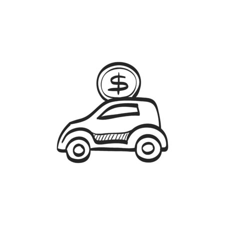earn money: Car piggy bank icon in doodle sketch lines. Saving kids banking car automotive automobile
