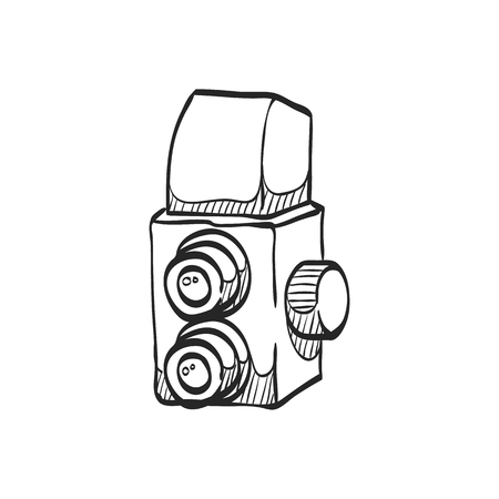 mirror image: Twin lens reflex camera icon in doodle sketch lines. Vintage retro photography photo mechanical analog film shooting