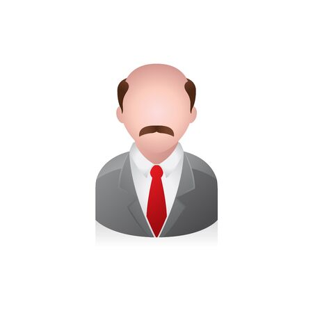 human face: Businessman avatar icon in colors.