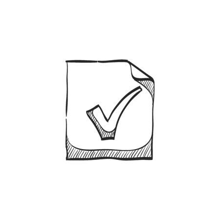 briefing: Checkmark icon in doodle sketch lines. Events organizer reminder schedule Illustration