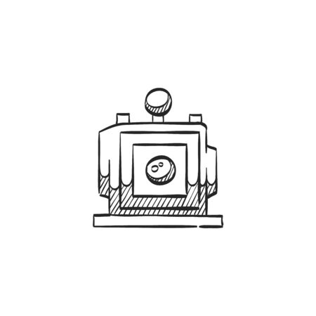 photo: Large format camera icon in doodle sketch lines. View field sheet film photography lens