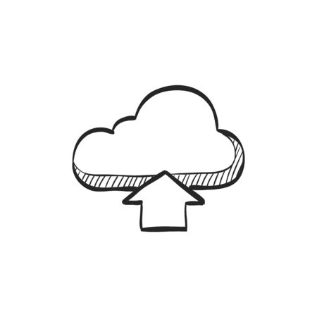 clouds: Cloud upload icon in doodle sketch lines.