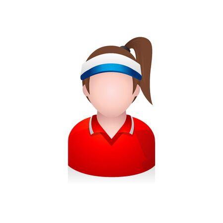 male portrait: Sport woman avatar icon in colors. Illustration
