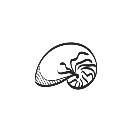 nacre: Nautilus icon in doodle sketch lines. Sea creature mollusk shell living fossil