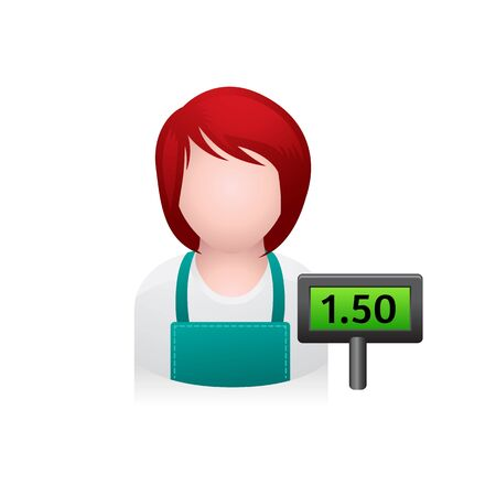 girl: Cashier avatar icon in colors. Illustration