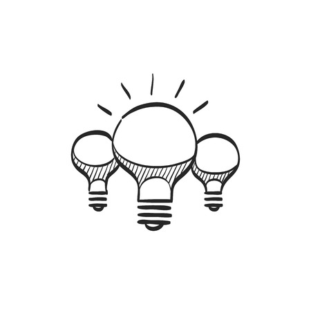 Light bulb icon in doodle sketch lines. Idea inspiration electricity light