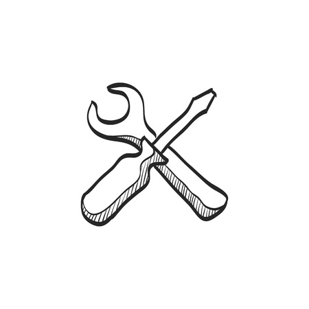Bicycle tools icon in doodle sketch lines. Wrench screw driver mechanic setting maintenance professional