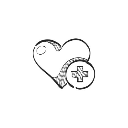 addition: Favorite icon in doodle sketch lines. Internet symbol like plus heart shape Illustration