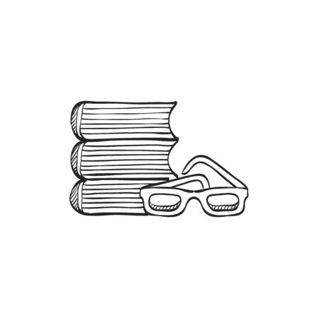 student with books: Books and glasses icon in doodle sketch lines. Education student college research library