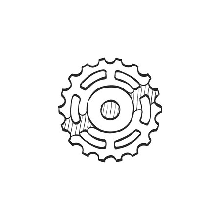 spare: Sprocket icon in doodle sketch lines.