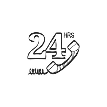 line drawings: 24 hours service icon in doodle sketch lines. Call center, support, help desk