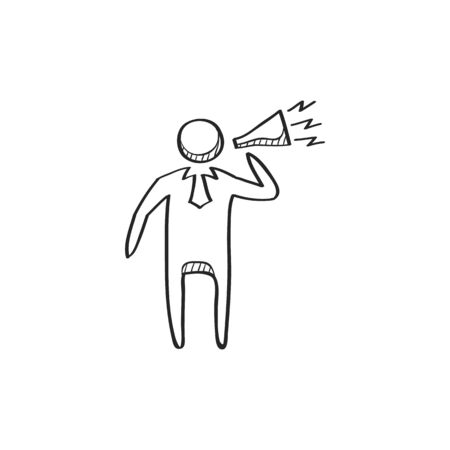 motivator: Businessman loudspeaker icon in doodle sketch lines. Motivator leader announce megaphone