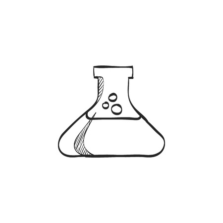 toxic substance: Beaker icon in doodle sketch lines. Labs research science biology chemical chemist