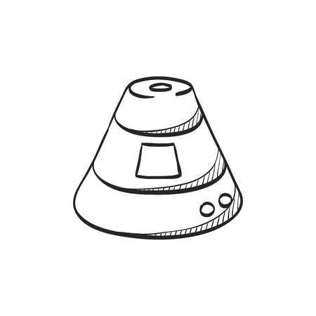 take a history: Space capsule icon in doodle sketch lines. Astronaut, space craft