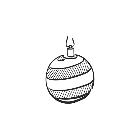 festive: Christmas ball icon in doodle sketch lines. Season greeting December merry decoration Illustration