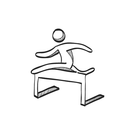 line drawings: Hurdle run icon in doodle sketch lines. Sport competition running sprint challenge