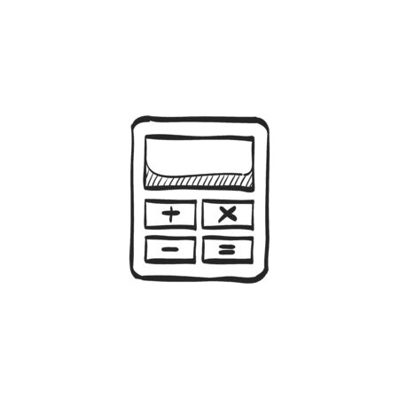 website buttons: Calculator icon in doodle sketch lines. Calculate electronic finance money Illustration