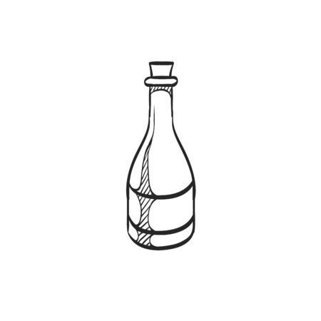 line drawings: Wine bottle icon in doodle sketch lines. Drink romantic couple