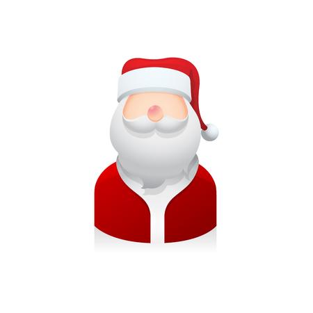 male portrait: Santa claus avatar icon in colors.