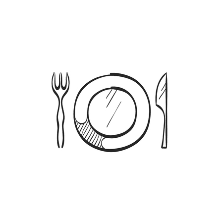plate: Dishes icon in doodle sketch lines. Spoon fork dinner supper breakfast eating Illustration