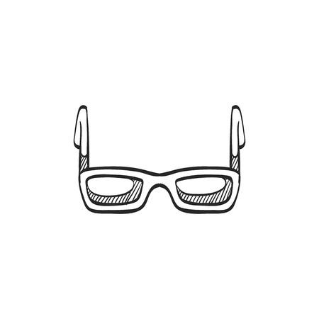 sun: Eyeglasses icon in doodle sketch lines. Fashion hipster dark black retro